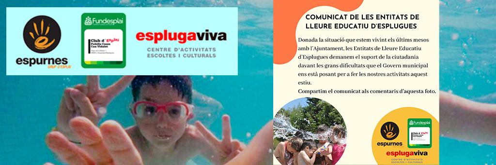 COMUNICAT DE LES ENTITATS DE LLEURE EDUCATIU D'ESPLUGUES: